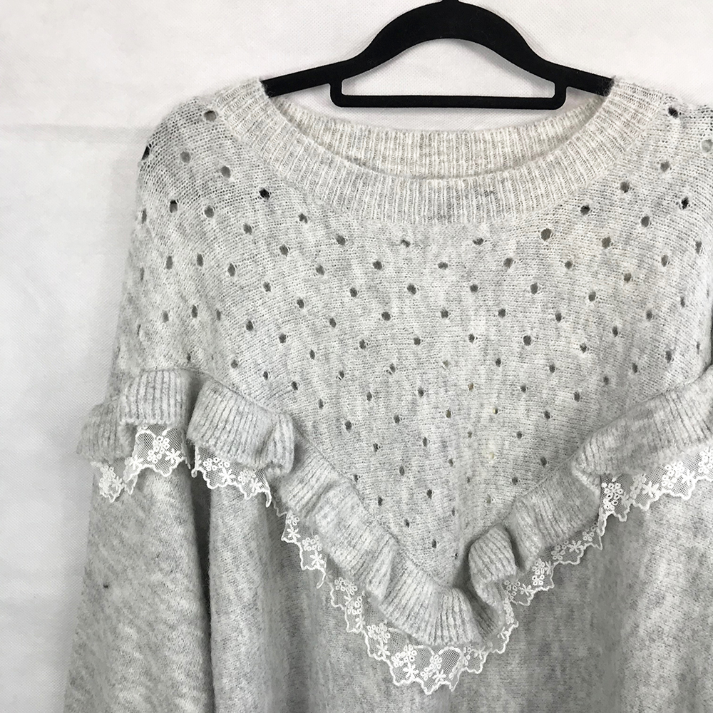 Grey Lace Detailing Jumper