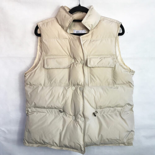 Crop Puffer Gilet in Beige