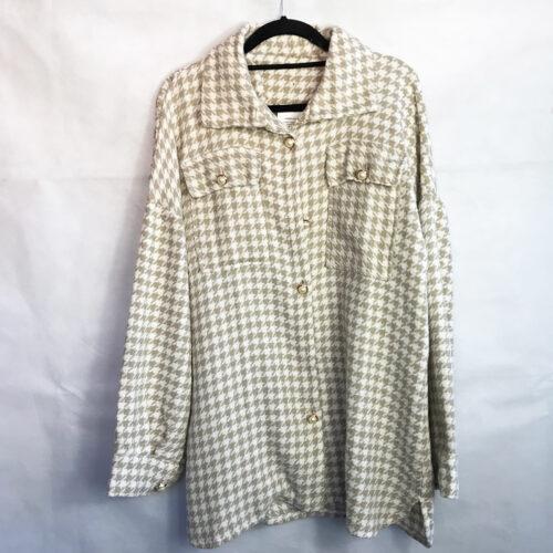 Pearl Detailing Check Shirt Jacket