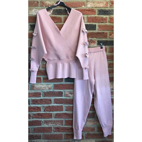 Pink Bow Sleeve Lounge Set