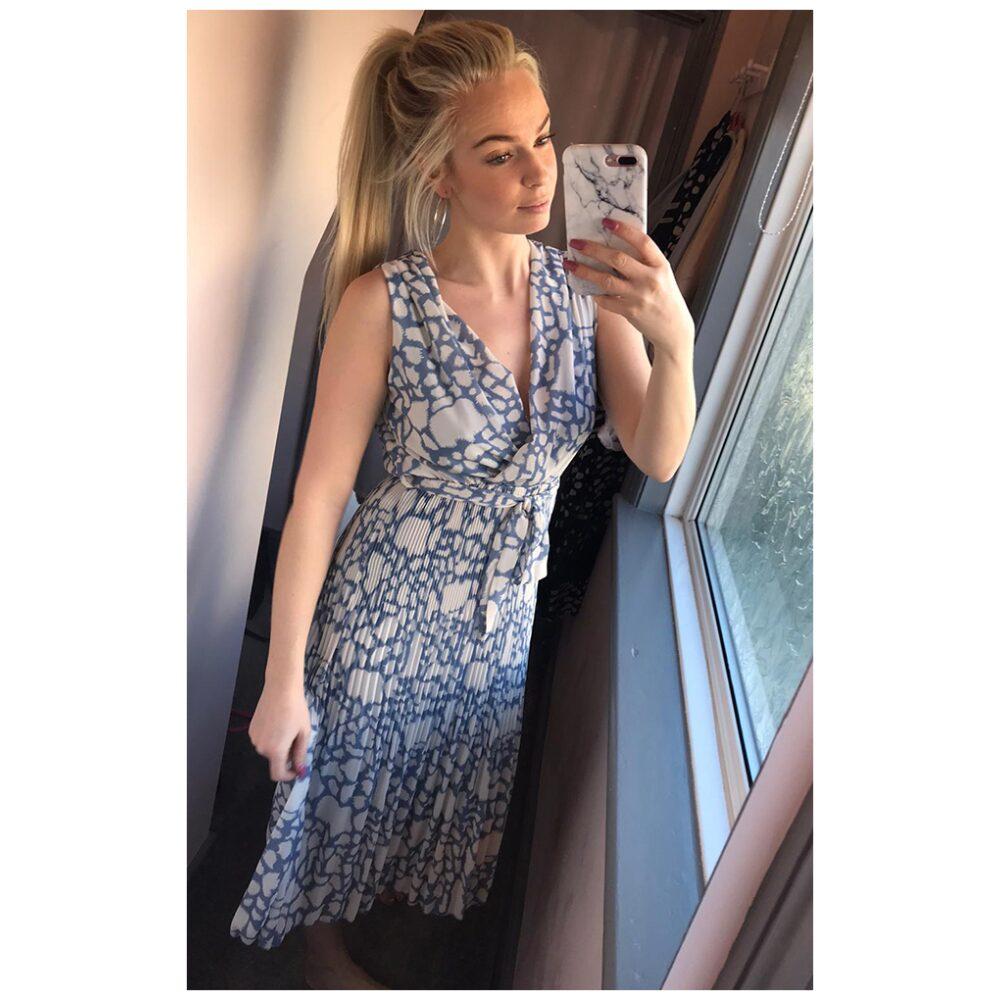 Blue Pleated Midi Dress