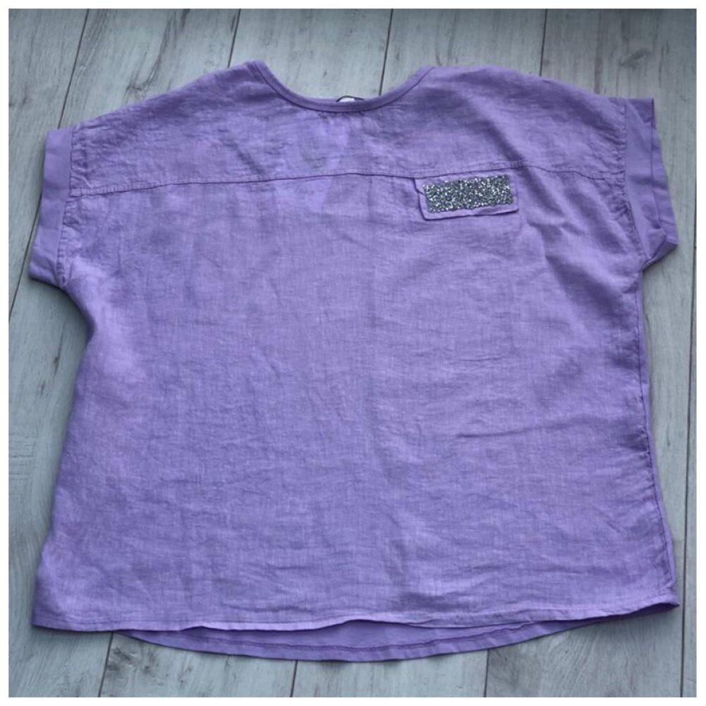 Lilac Sparkle Pocket Linen Top