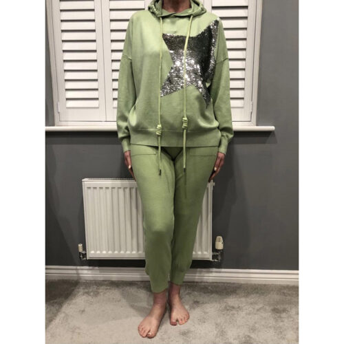 Green Star Print Hoody Set