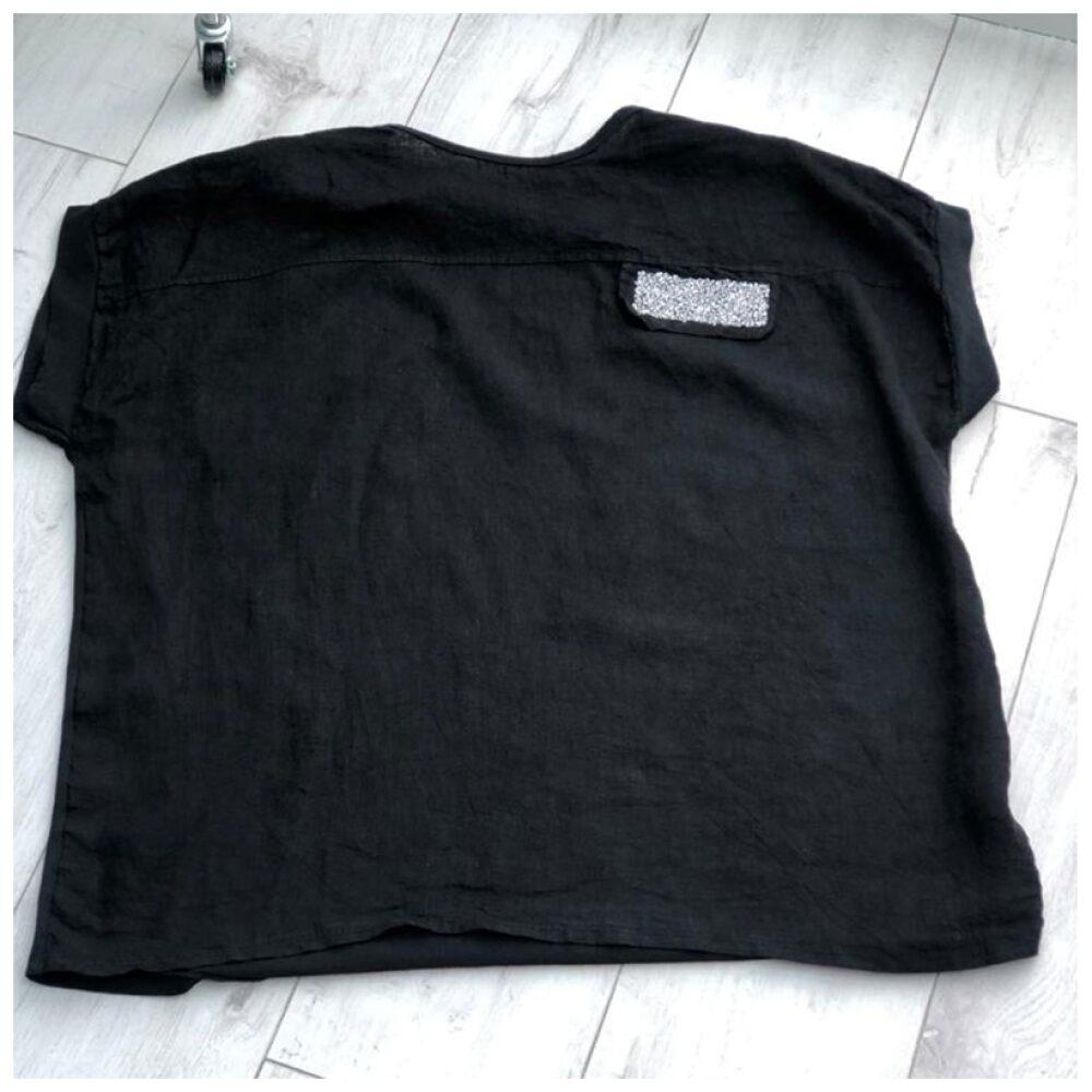 Black Sparkle Pocket Linen Top