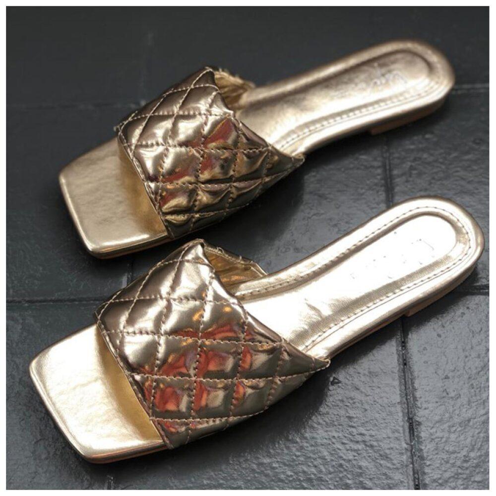 Gold Square Toe Sandal