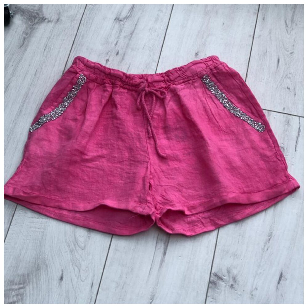 Pink Sparkle Pocket Linen Shorts