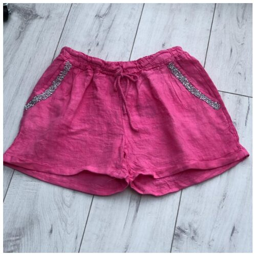 Pink Sparkle Pocket Linen Shorts
